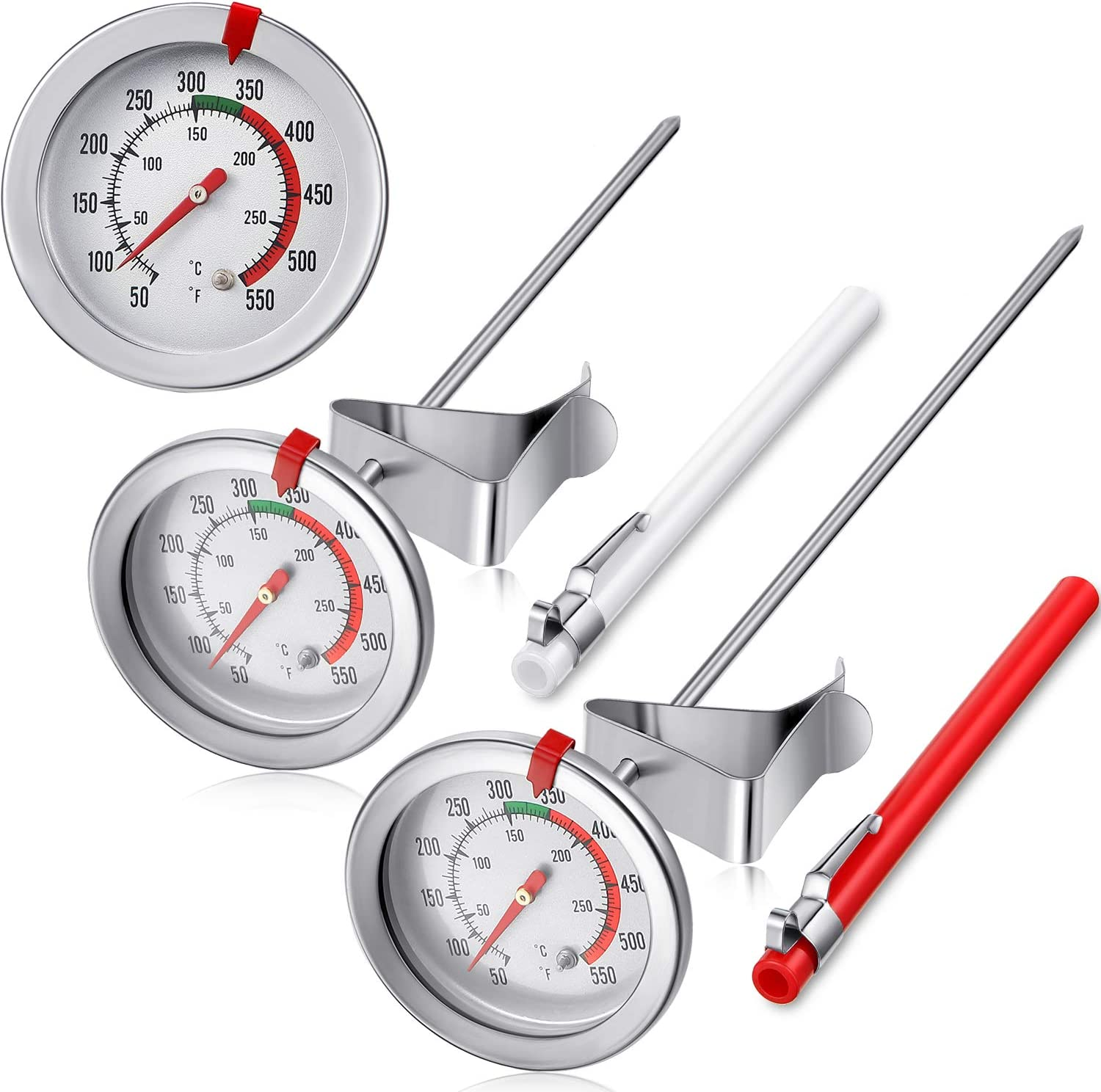2 Pieces Stainless Steel Thermometer Instant Read 2 Inch Dial Thermometer 7 8 Or 11 8 Inch Long Stem Fry Thermometer With Metal Retaining Clip And 2 Pieces Plastic Sleeves 7 8 And 11 8 Inch Kitchen Dining