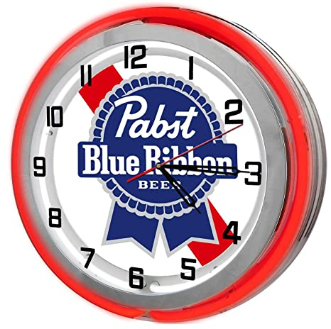 Amazon.com: Pabst Blue Ribbon Red Double Neon Garage Clock From ...