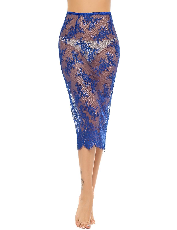 Avidlove Women Lingerie Slips Satin Snip-it Half Slip Lace Underskirt Long Pajamas Skirt Under Knee Length Plus