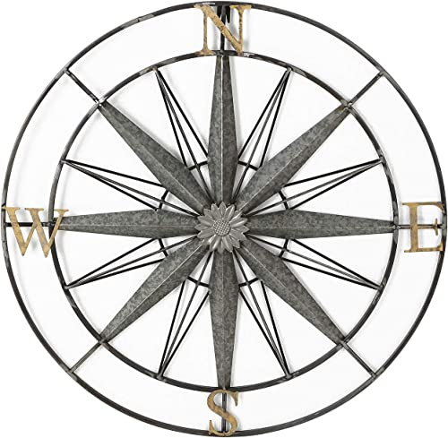 Adeco Decorative Compass Metal Wall Hanging Art Decor For Nature Home Art Decoration Kitchen Halloween Christmas New Year Gift Home Decor