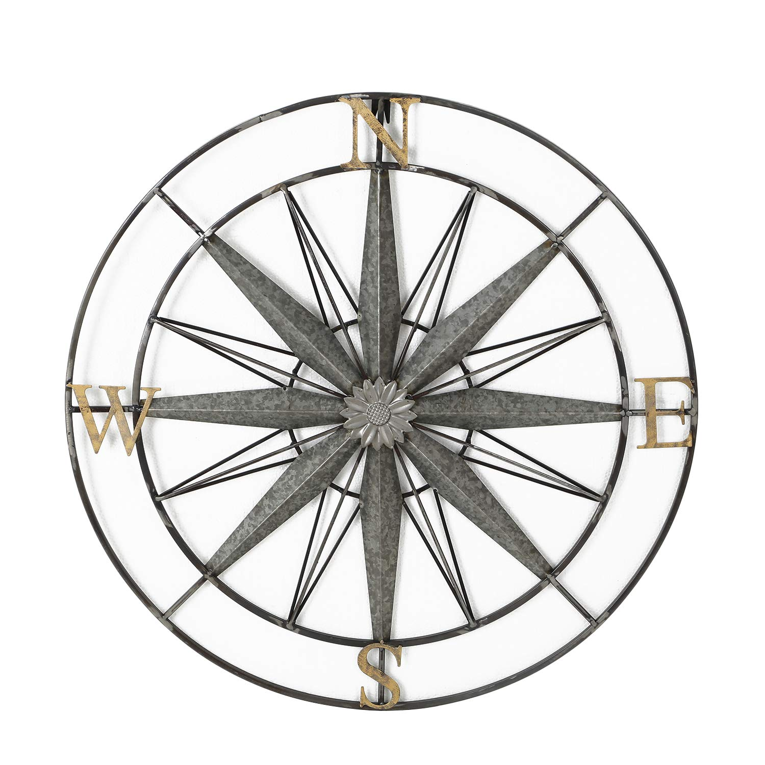 Adeco Decorative Compass Metal Wall Hanging Art Decor for Nature Home Art Decoration & Kitchen Holiday Wall Decorations, Christmas Wall Art Gifts - 27.5x27.5 Inches by Adeco