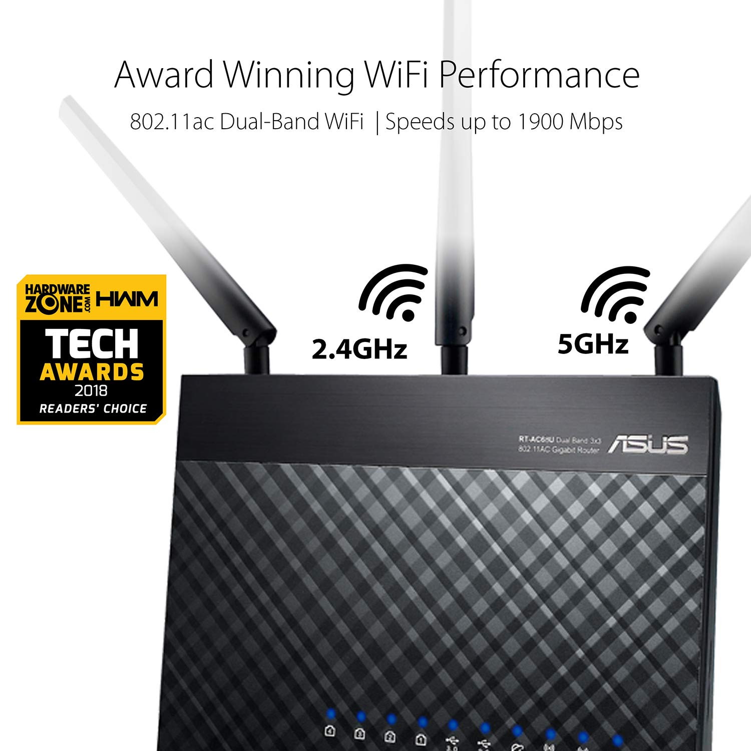 Asus AC1900 Dual Band Gigabit WiFi Router with MU-Mimo, Aimesh for Mesh WIFI System, Aiprotection Network Security Powered by Trend Micro, Adaptive Qos and Parental Control (RT-AC68U) 61i6itY8atL