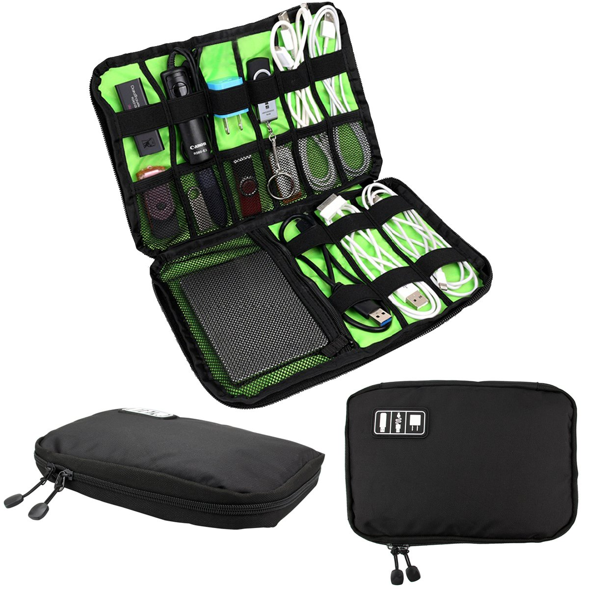 RRunzfon Cable Organizer , Electronics Accessories Travel Bag, Hard Drive Case for USB ,Phone Charger, Charging Cable, Power Bank carry case
