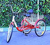 "New 6-Speed 24"" 3-Wheel Adult Tricycle Bicycle Trike Cruise Bike W/ Basket (Red)"