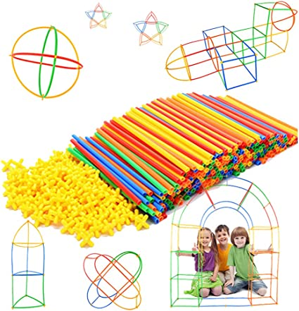 300 Piece Toy Straw Connectors for Creative Building Play Straws Set STEM /&