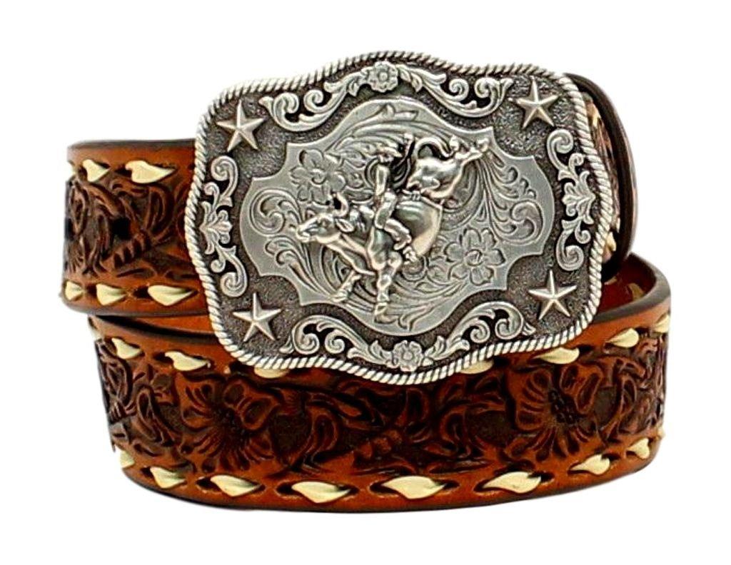 Nocona Boy's Rodeo Bull Rider Motif Buckle Belt, Tan, 28