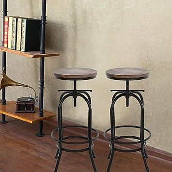 IKAYAA Set of 2 Vintage Industrial Bar Stools Height Adjustable, Retro  Kitchen Bar Chairs Natural Pinewood Top