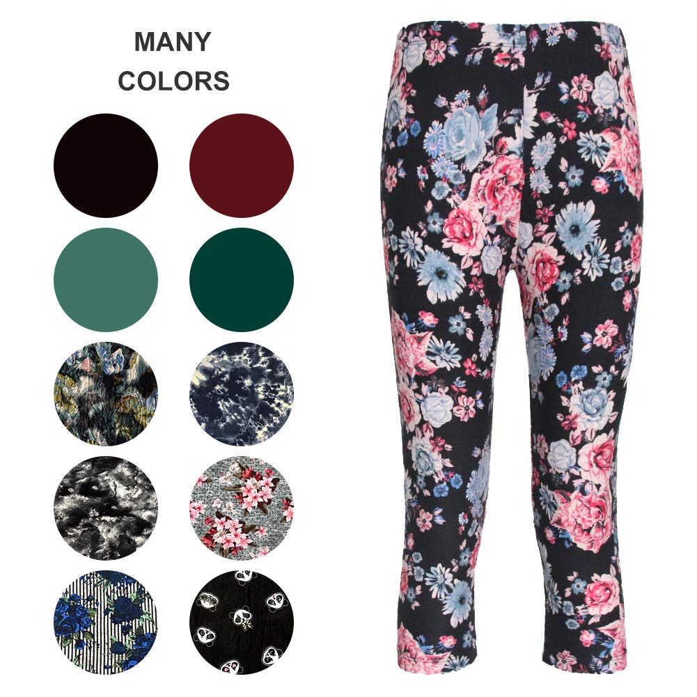 ZOOSIXX Capri Leggings Women – Extra Soft Printed Floral Capri Pants Summer (One Size (US 2-12), Flowers Black)