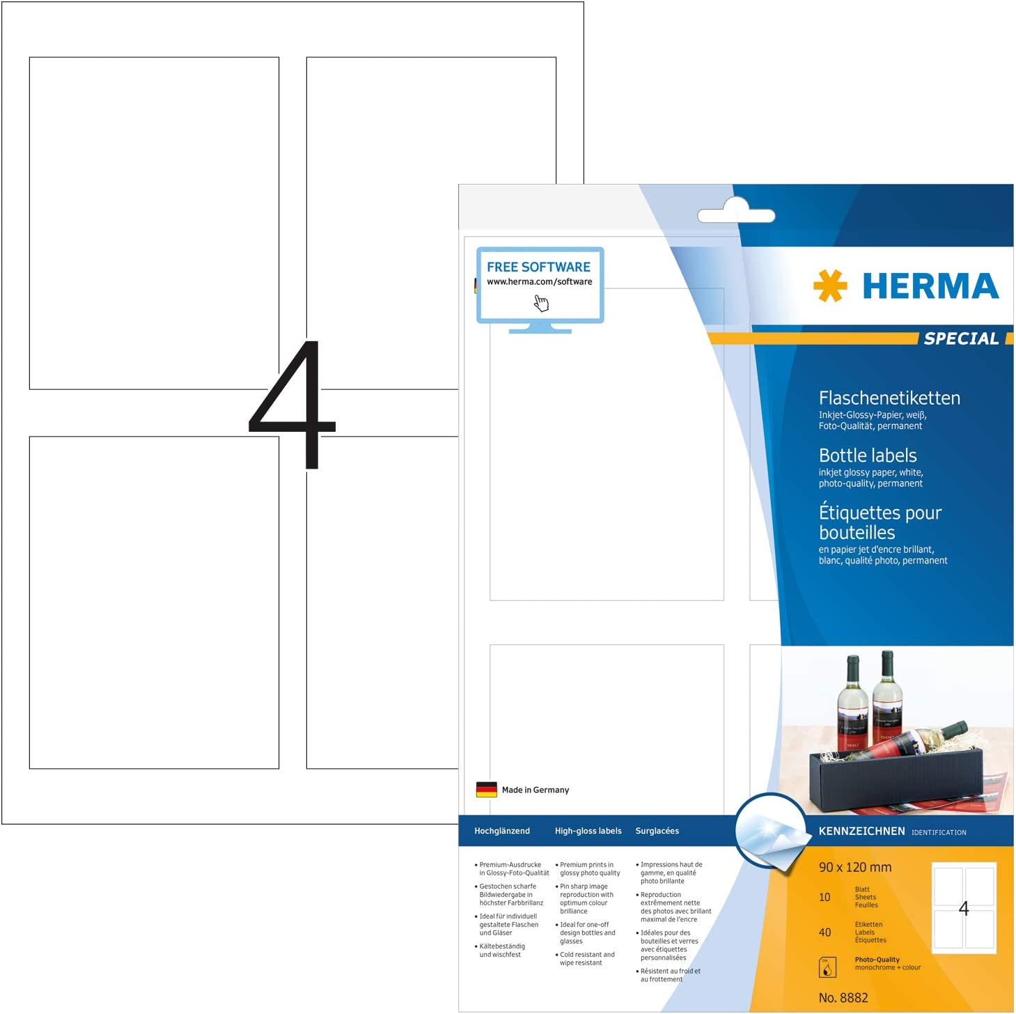 Amazon Com Herma Self Adhesive High Glossy Bottle Labels 4 Labels Per A4 Sheet 40 Labels For Inkjet Printers White 90 X 120 Mm 8882 Office Products
