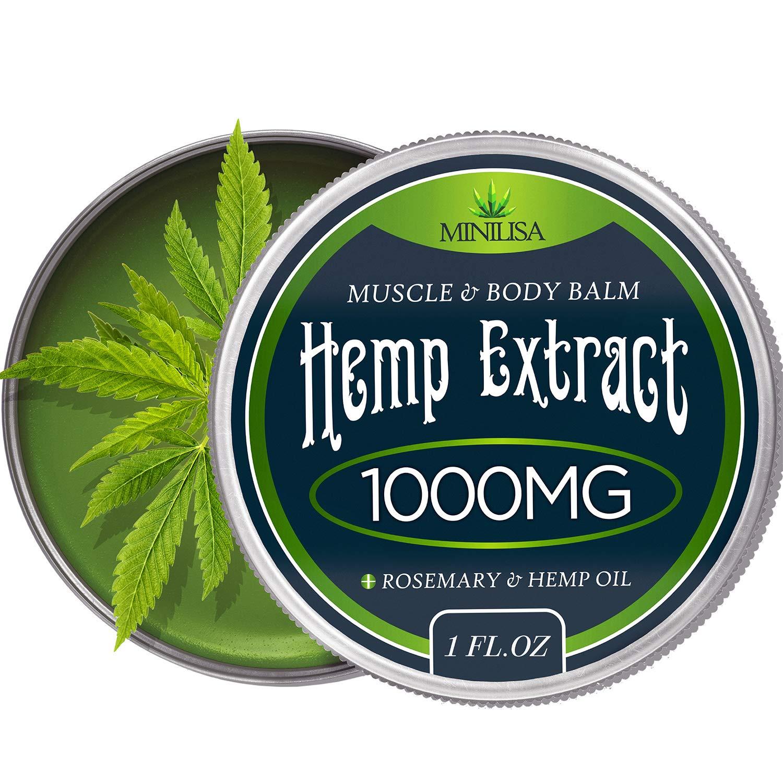 Premium Hemp Balm - Ultra Strong Natural Pain Relief - 1000mg Hemp Extract  - Rosemary & Hemp Oil