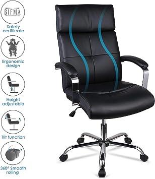 INTEY Chaise de Bureau, Fauteuil de Bureau Pivotant 360°, Siège pour Ordinateur avec Coussin et Dossier Confortables, Design Ergonomique, Réglable en
