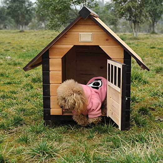 Alppq Caseta de perro Al aire libre Casa de perro de madera maciza Impermeable Fácil de limpiar Perrera Casa de madera Casa de campo Perros medianos y ...
