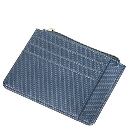 Bolsillo Slim Carteras RFID hombres bloqueo Zip titular de la tarjeta Secure Thin monedero (azul)