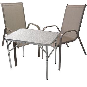3 piezas. Balcón Muebles Jardín Camping Mesa plegable 75 x ...