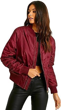 Cazadora bomber para mujer, diseño vintage con cremallera, abrigo acolchado, estilo biker: Amazon.es: Ropa y accesorios