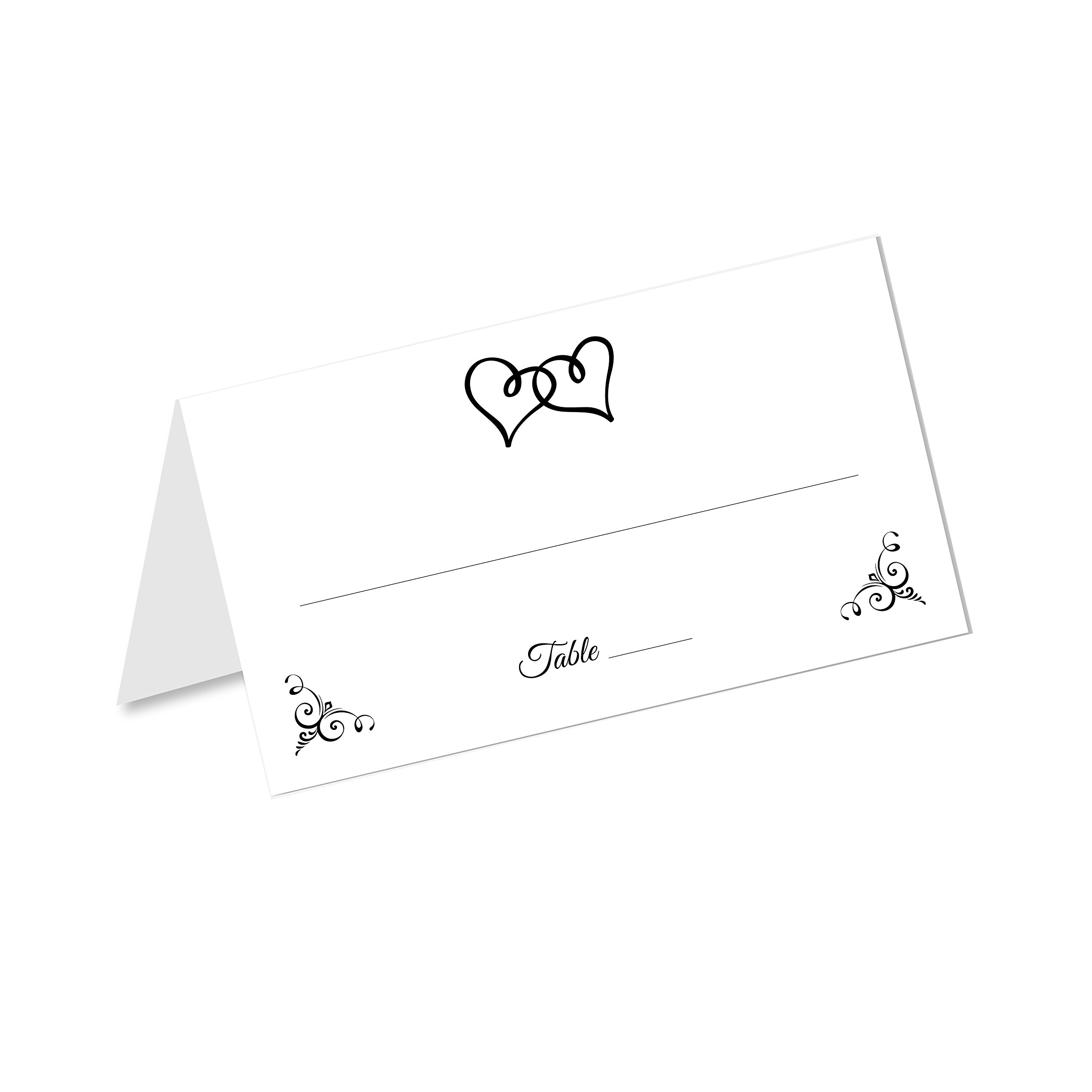 Old Blue Door Invites Double Heart Wedding Table Tented Place Cards (50 Count) - Fold Over Tent Style - Wedding Reception, Bridal Shower, Anniversary Party, Dinner Banquet Table Seating Cards