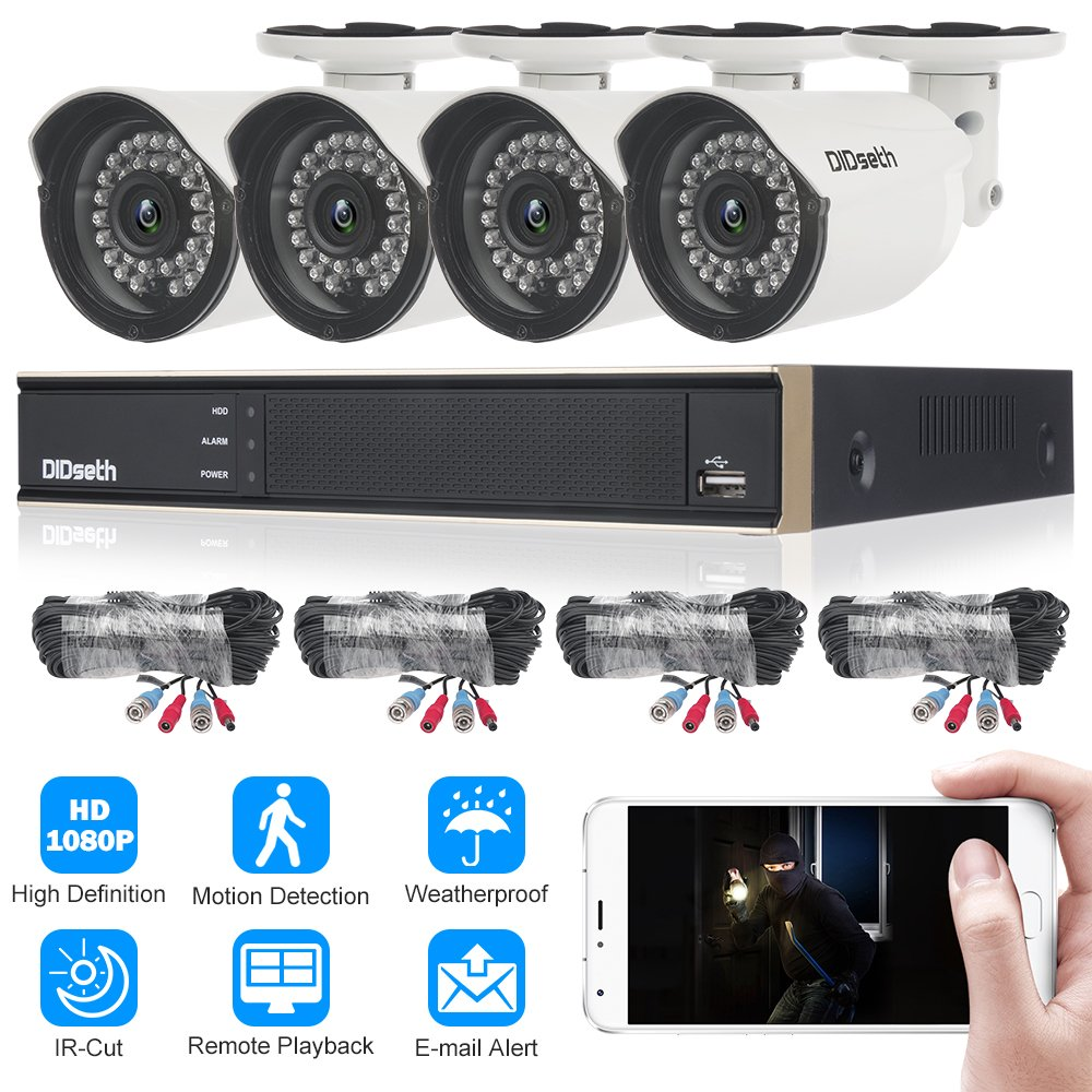DIDseth FULL HD 4 Channel 1080p Surveillance Camera System with 4pcs Weatherproof Outdoor Indoor Security Cameras Night Vision, Motion Detection …