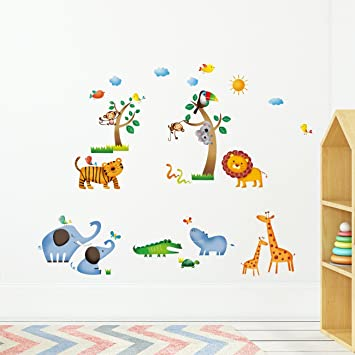 large tree animal wall stickers for kids room decoration 1213. monkey owl  zoo cartoon diy
