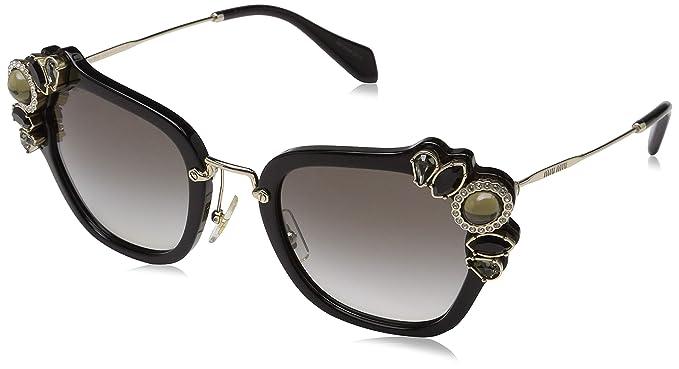 951bee528fc Amazon.com  Miu Miu Women s 0MU 03SS Black Grey Gradient One Size ...