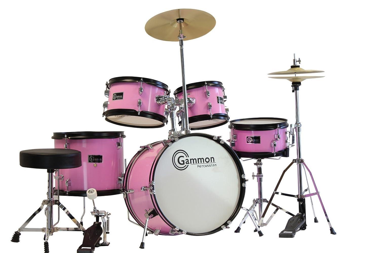 Gammon 5-Piece Junior Starter Drum Kit with Cymbals, Hardware, Sticks, & Throne - Black Gammon Percussion BMDJR50