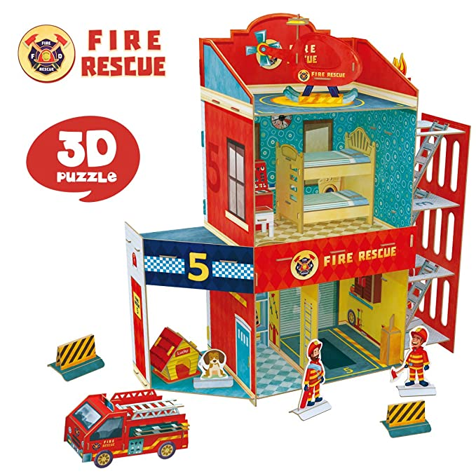 CubicFun Fire Rescue DIY Dollhouse Kit,Kids House Puzzle Toys,P813h 89 Pieces