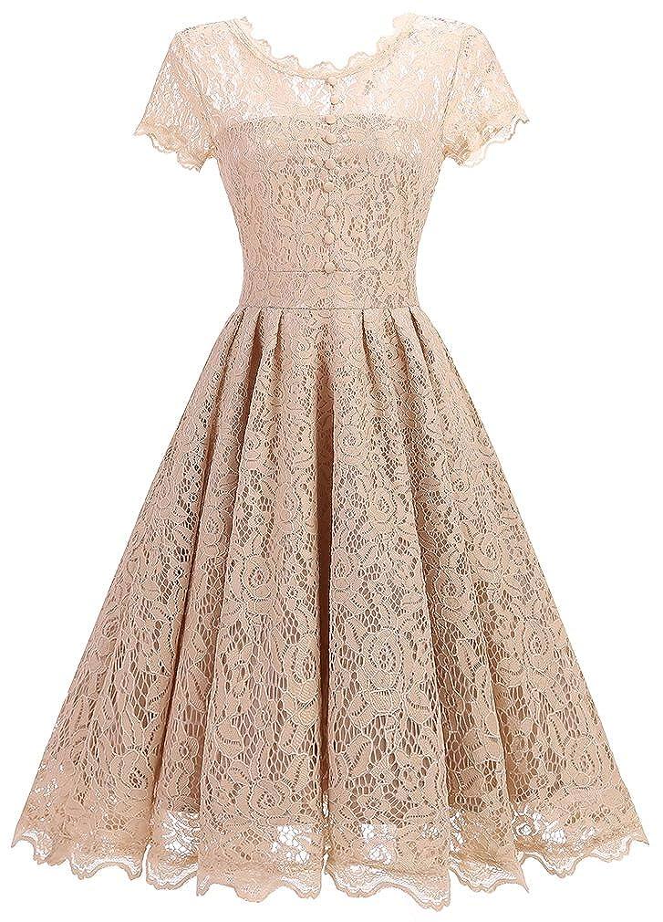 OLIPHEE Donna Estivi Vintage Vestito Pizzo Casual Cerimonia Manica Corta  Vestiti  Amazon.it  Abbigliamento 72b30cdecd2