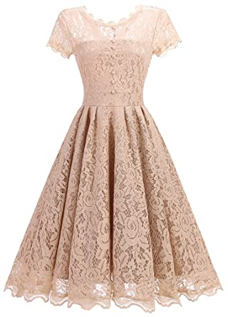 7d1bb0ec0fd OLIPHEE Women s Vintage 1950s Lace Overlay Double Layer Knee Length Skater  Swing Dresses Beige UK 6