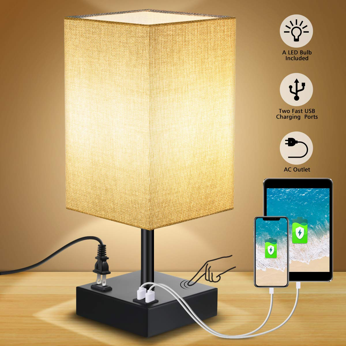 Touch Control Table Lamp, SOLMORE 3 Way Dimmable Bedside Nightstand Lamp, with AC Outlet 2 Charging USB Ports Fabric Shade Modern Lamp for Bedroom Office Living Room,60W Equivalent LED Bulb Included