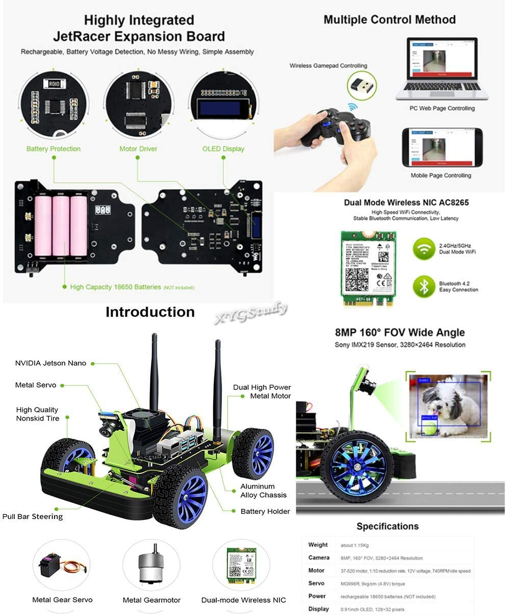 XYGStudy PiRacer AI Kit Accessories Add-ons for Raspberry Pi 4 to Build AI Racing Robot Donkey Car Open Source Project for Deep Learning Self Driving with Camera Module Wireless Gamepad