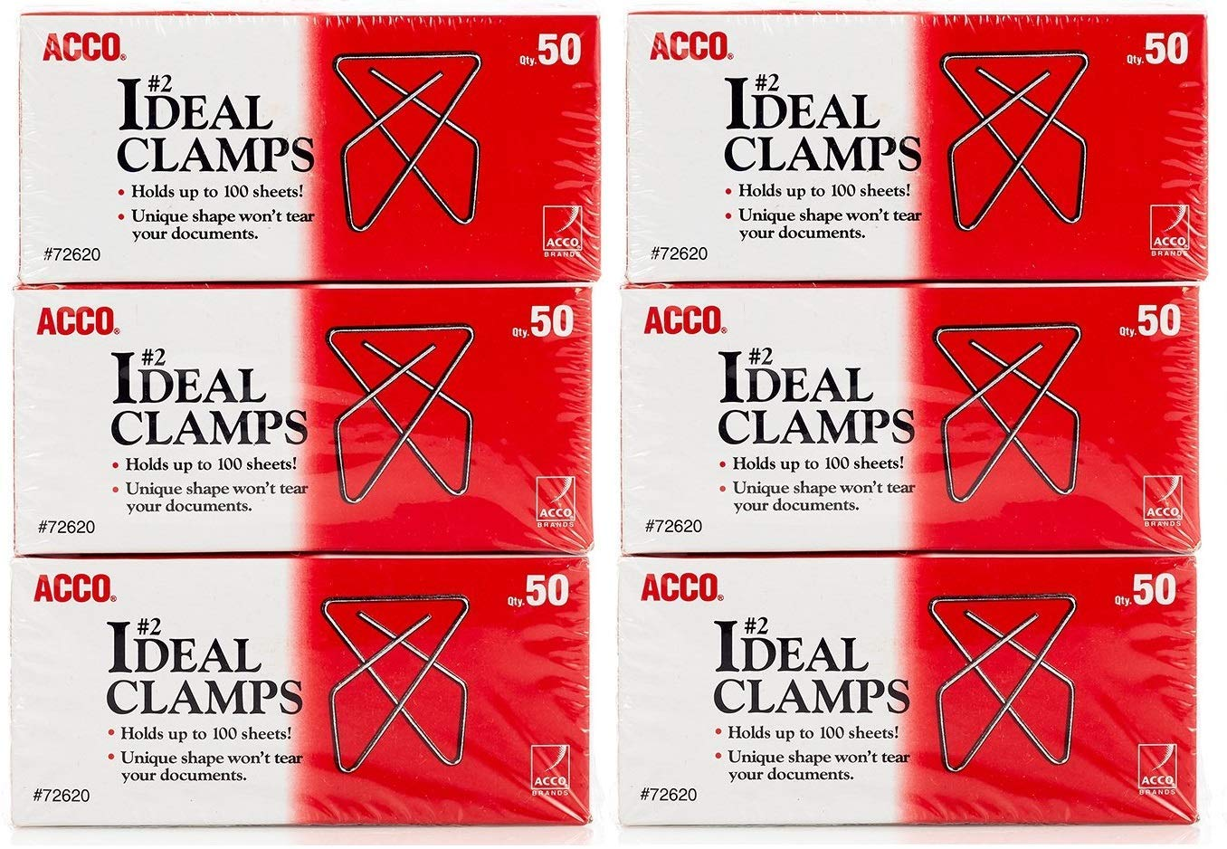 ACCO Ideal Paper Clamp/Butterfly Clamp, Smooth, 2 Size(Small), 50/Box, 3-Pack (150 Clamps Total) (A7072643)