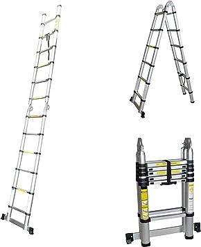 Escalera telescópica – Escalera extensible Escalera multiusos Escalera escalera de aluminio extensible Escalera escalera escalera de aluminio hasta 3,80 m: Amazon.es: Bricolaje y herramientas