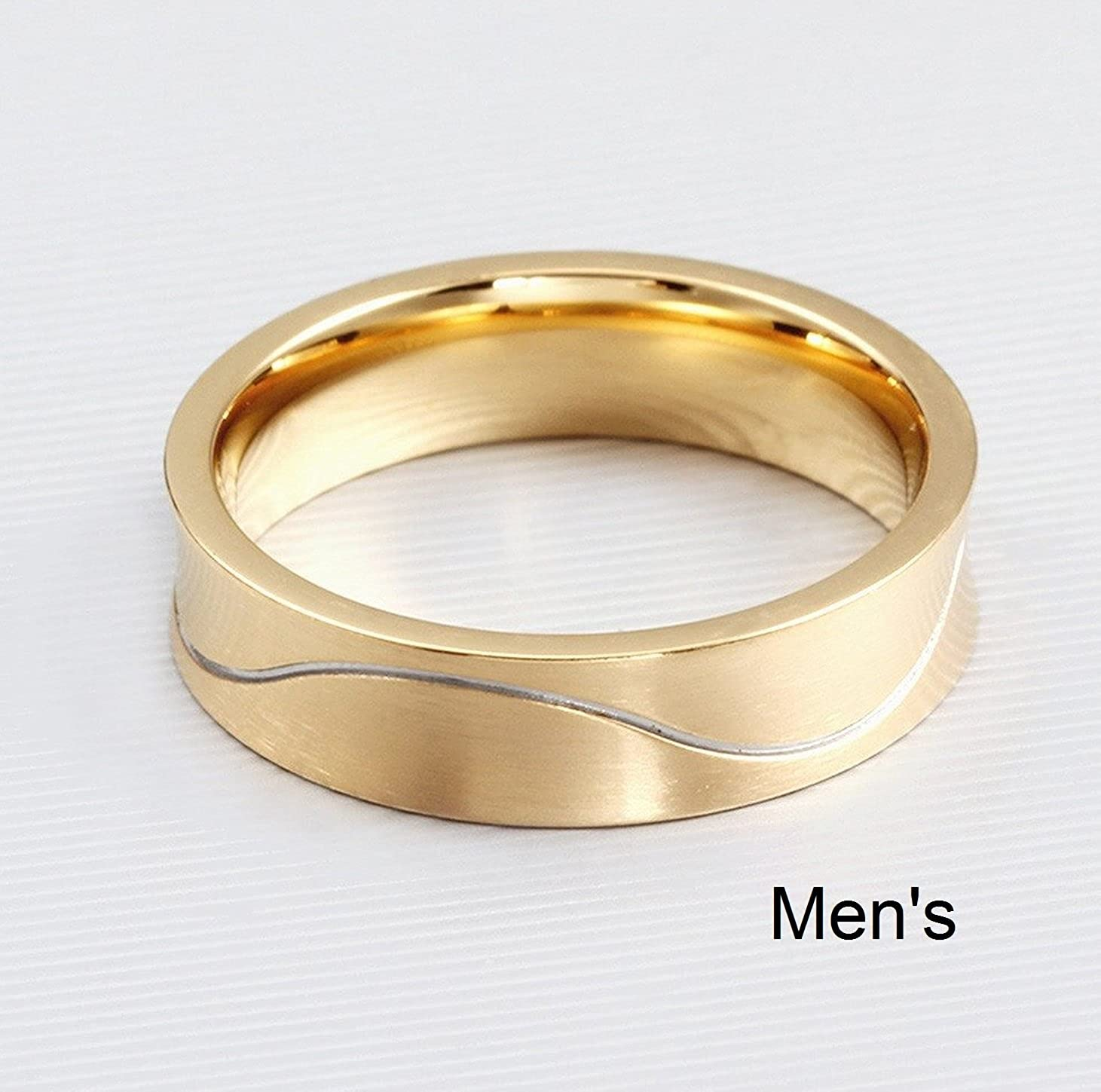 Titanium Stainless Steel Cubic Zirconia Wedding Band Set Engagement Promise Anniversary Couple Ring