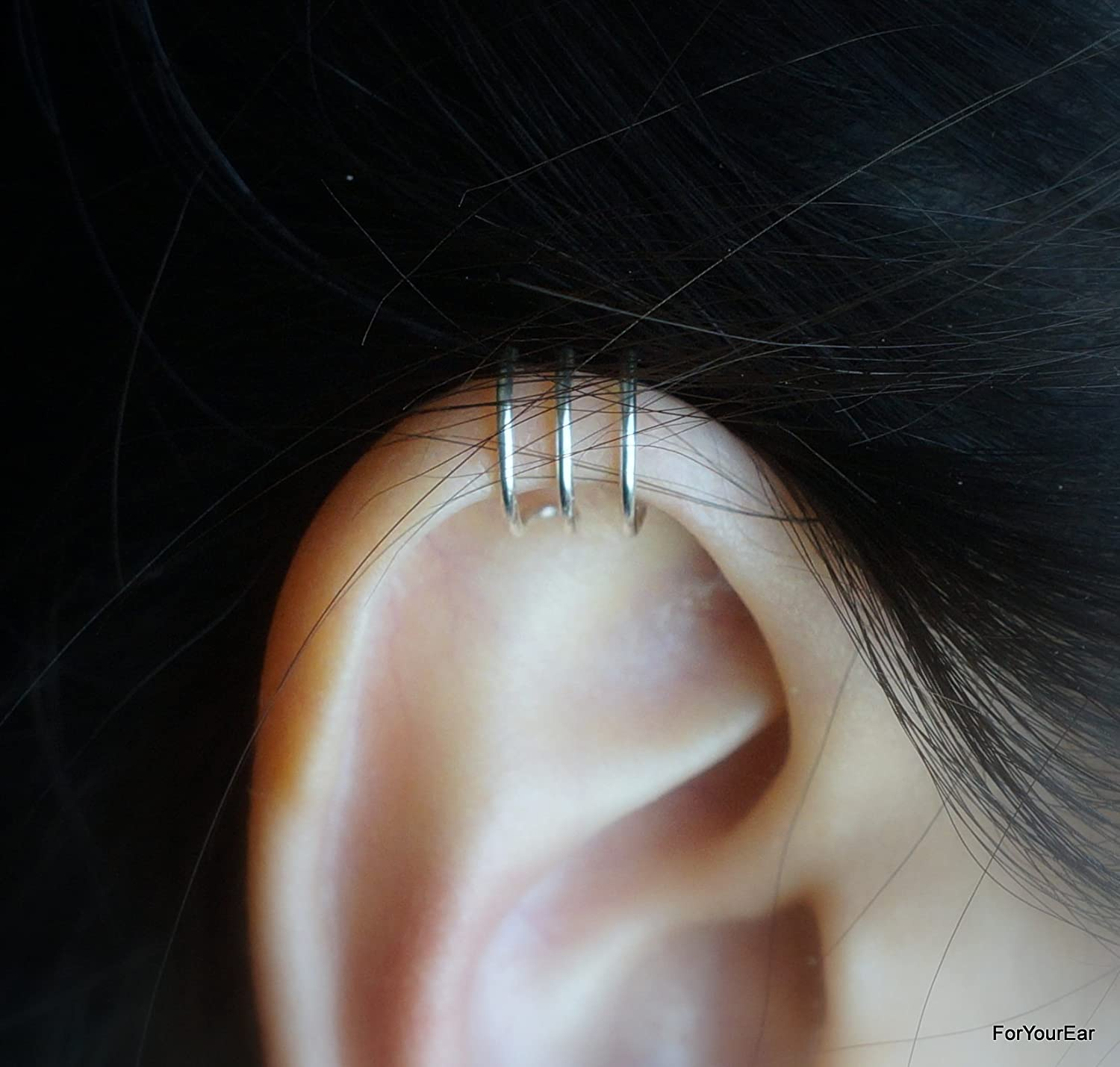 127) Simple Triple Band Ear Cuff For Upper Cartilage
