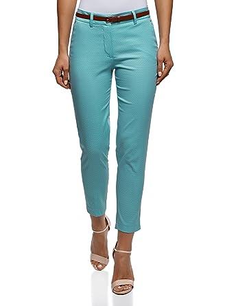 oodji Collection Femme Pantalon Jacquard Ceinture, Turquoise, FR 36   XS 28217cbeb94f