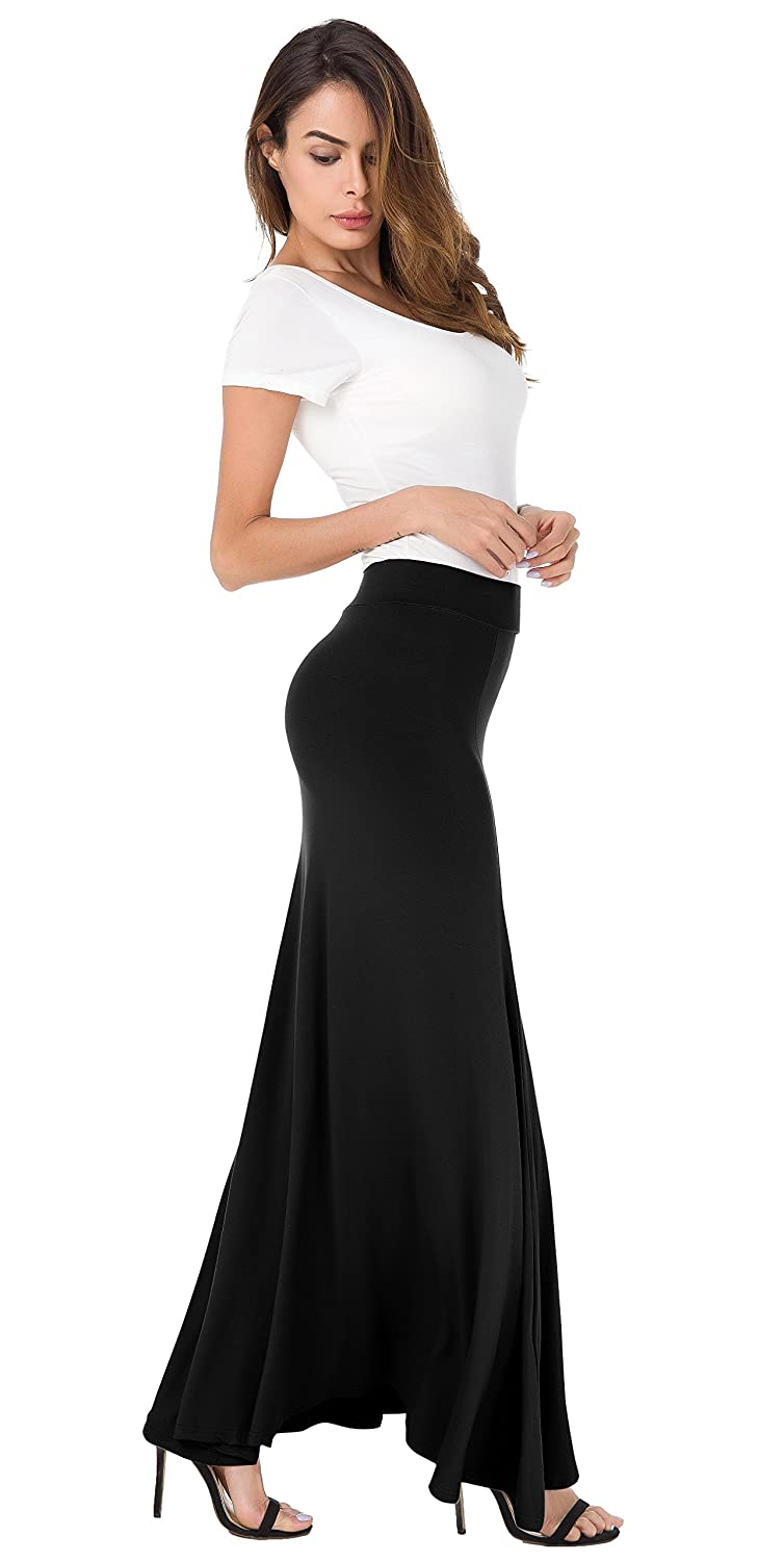 995c525d2 Womens Floor Length Long Skirt for Summer Casul Wear for Ladies and Girls  Featuing Flared Ruffled Pleated Hem and Elastic Waist