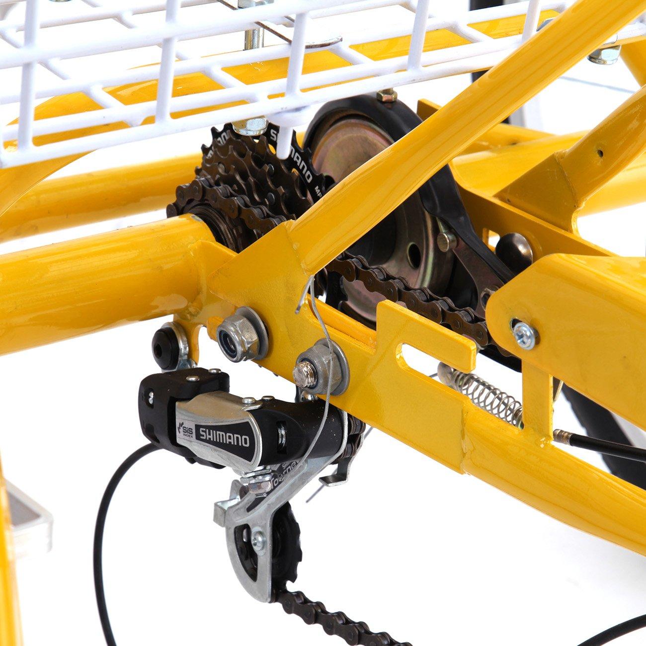 IglobalbuyYellow 24-Inch 6-Speed Adult Tricycle Trike 3-Wheel Bike Cruise Bike with Basket by Iglobalbuy (Image #8)