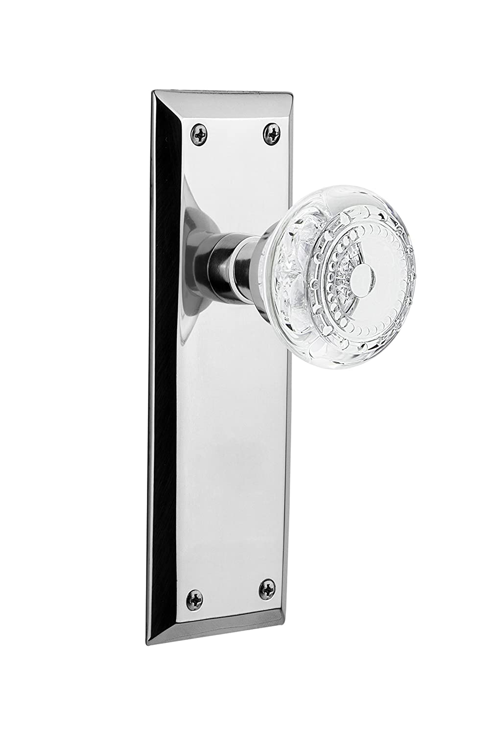 Bright Chrome 2.75 Nostalgic Warehouse 752774 New York Plate with Crystal Meadows Passage Door Knob