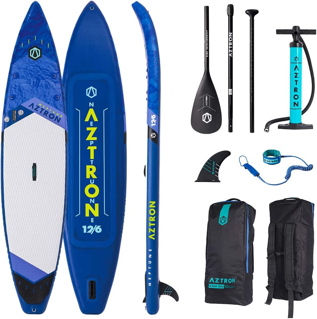 Aztron Neptune Inflatable Stand up Paddle Board Touring 12 6 Double Chamber Layer with Adjustable Aluminum Paddle and