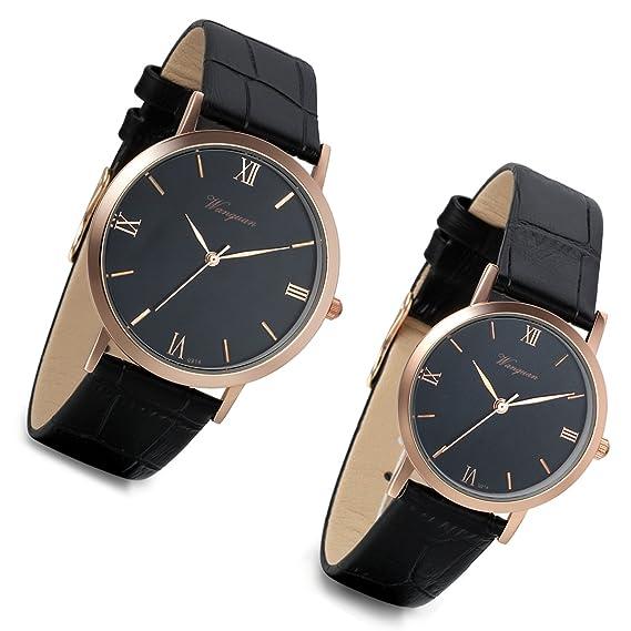 Lancardo - Reloj de pulsera para pareja con correa de piel artificial, esfera con números