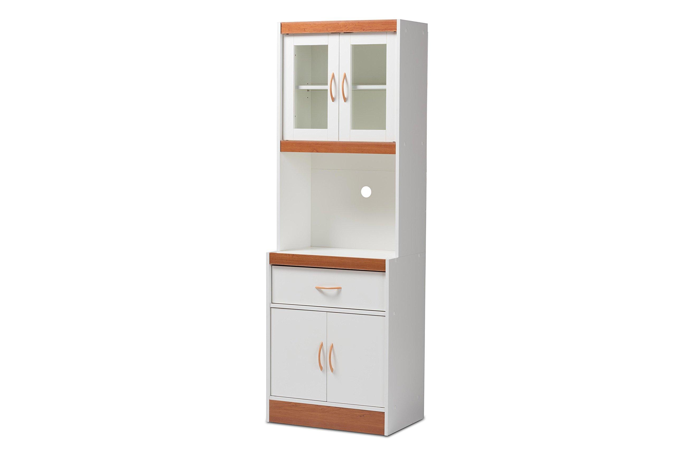 Baxton Studio Laurel Kitchen Cabinet, White/Cherry Brown by Baxton Studio