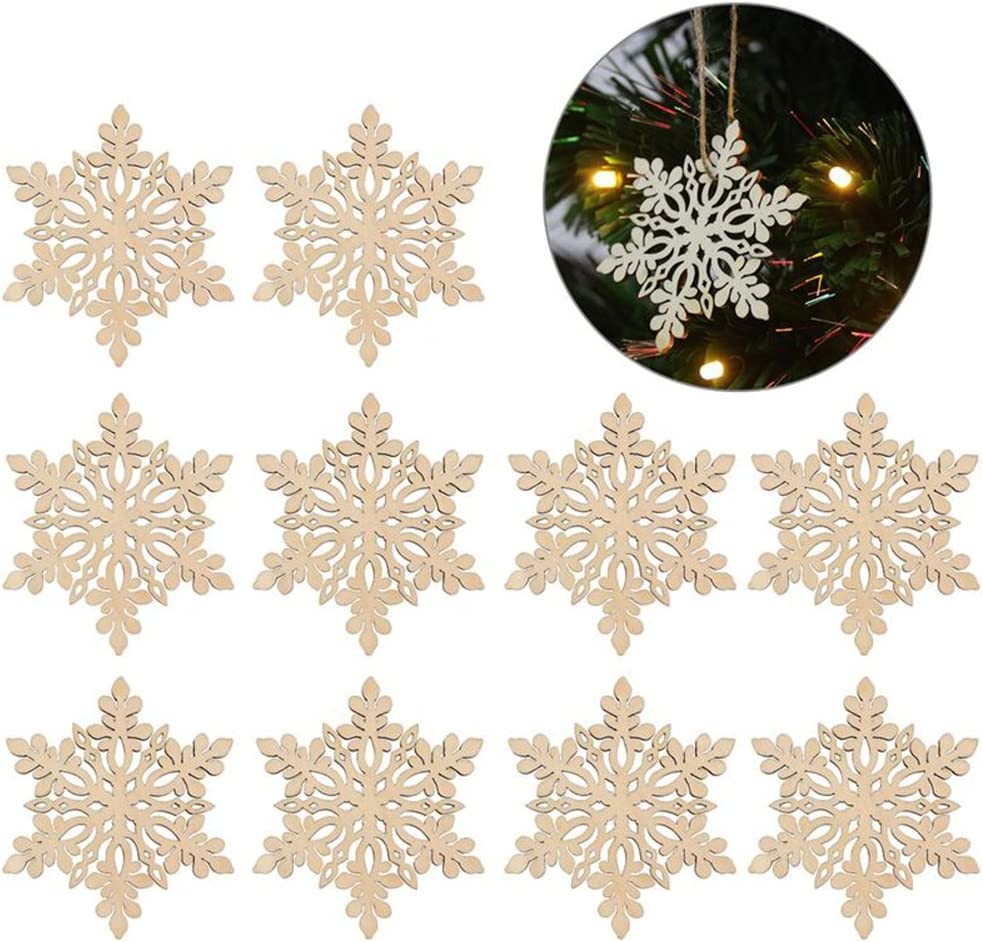Snowflake Wooden 3mm Thick Christmas Craft Shapes Pack of 10