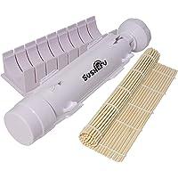 Sushefu Máquina para hacer sushi con rodillo y cortadora de bambú (instrucciones completas y libro