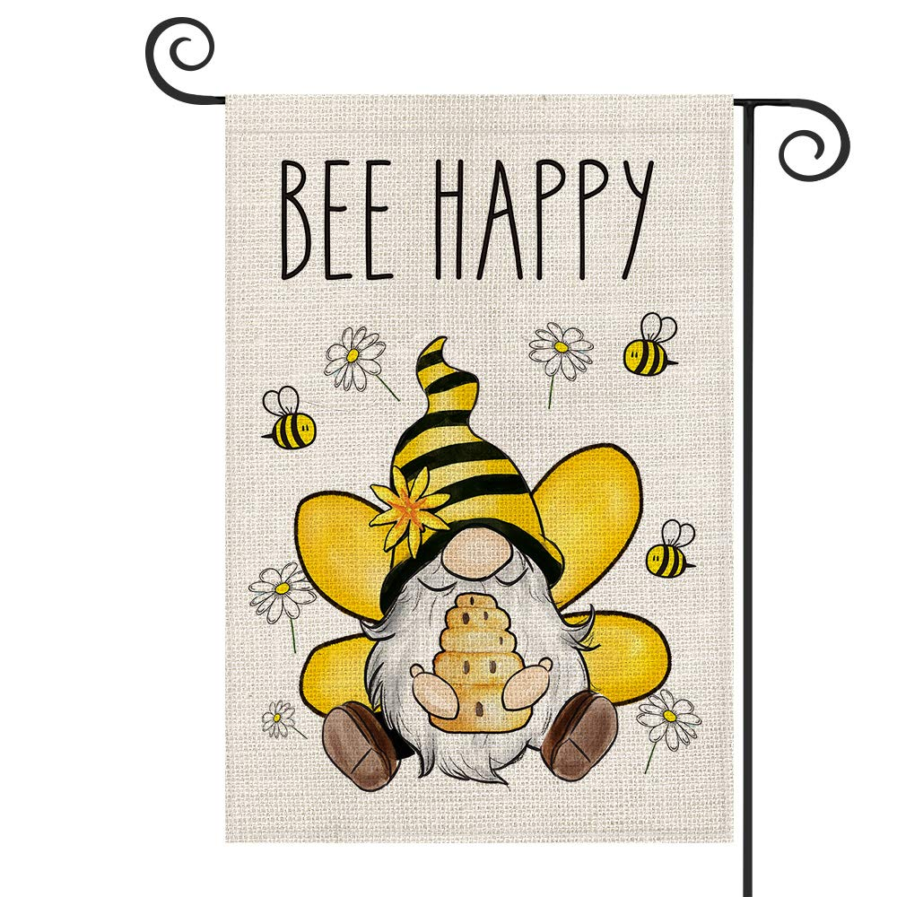 AVOIN Bee Happy Honey Flower Gnome Daisy Garden Flag Vertical Double Sided, Summer Holiday Party Yard Outdoor Decoration 12.5 x 18 Inch