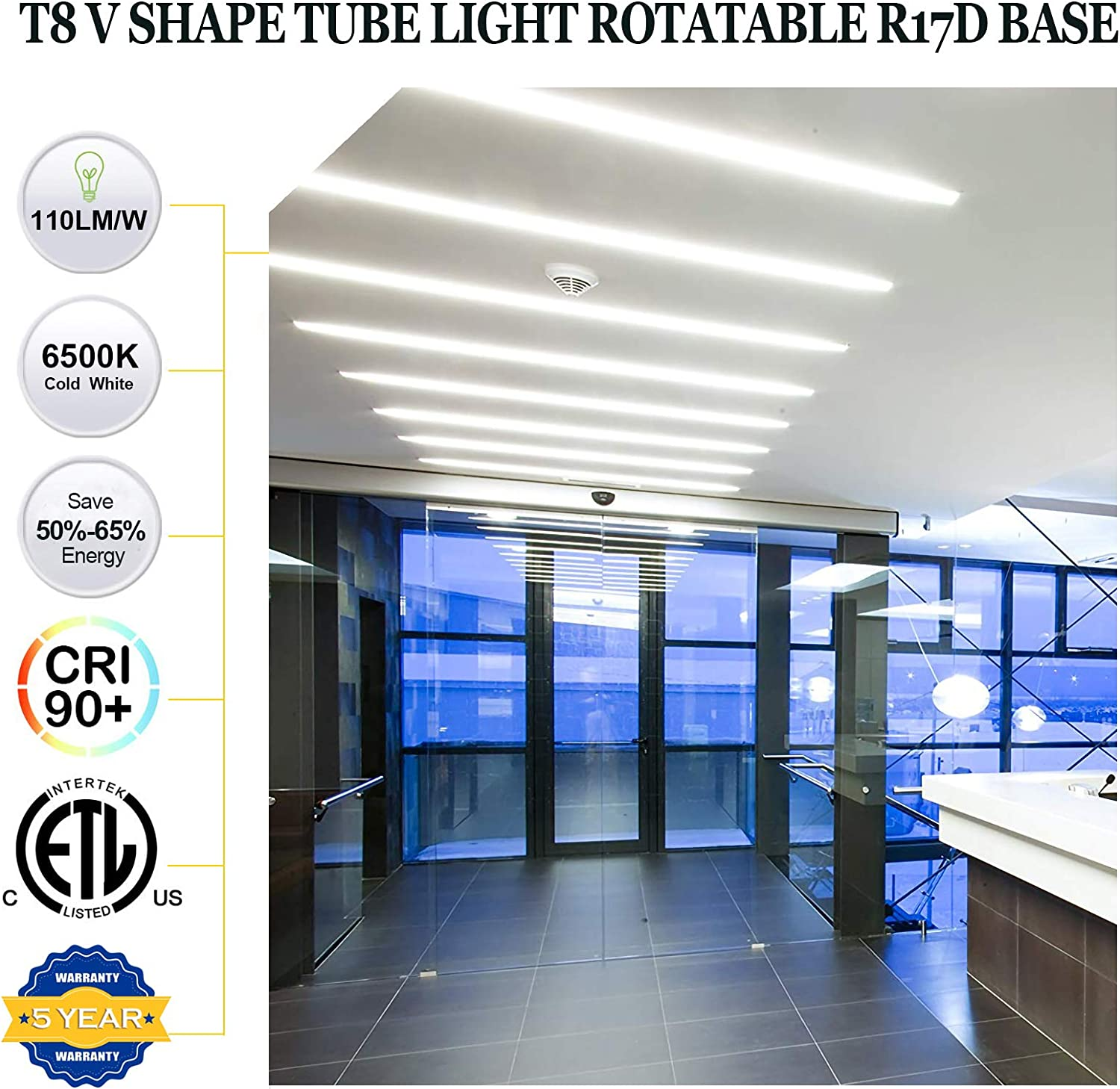 T8 LED Tube Light,360 Degree Rotatable R17D Base,8FT 60W V-Shaped Double Row Indoor Bulb Light for Warehouse,Shop,Daylight White 6500K,Clear Cover,T12 8 Foot Bulbs to Replace Fluorescent Light,15 PACK