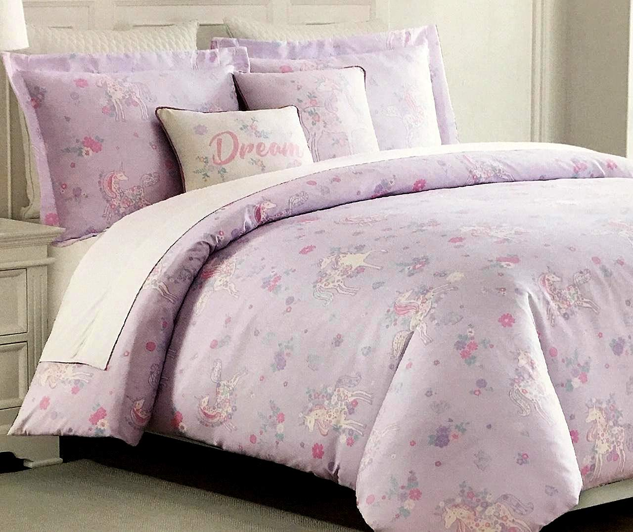 Unicorns and Spring Flowers All-Season Girls Twin Comforter Set by Nicole Miller Nicol Miller Kids