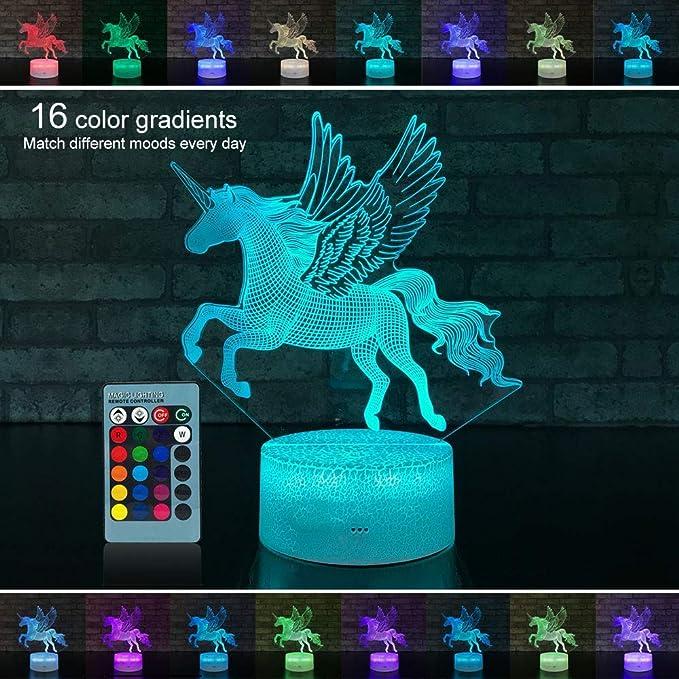 Palawell Unicorn Luz Nocturna 3D con 15 Colores cambiantes ...