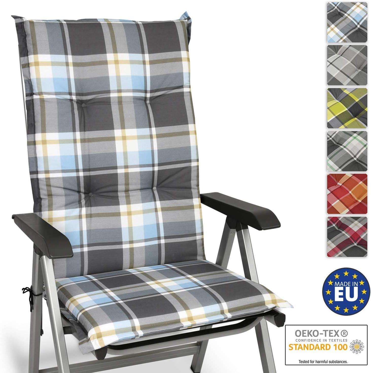 Beautissu High Back Garden Chair Seat Cushion Set of 6 Sunny HL 120x50x6cm Grey