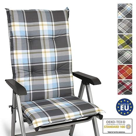 Beautissu Cojín para sillas de Exterior y jardín con Respaldo Alto Sunny BK Azul 120x50x6 cm tumbonas, mecedoras, Asientos cómodo Acolchado Resistente ...
