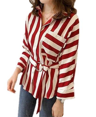AILIENT Mujer Camiseta Blusa Mangas Largas Casual Elegante A Rayas Oficina DecoraciÓN De Botones Blo...