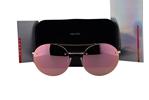 96afd722cec Prada PS54RS Sunglasses Pale Gold w Gray Mirror Rose Gold Lens ZVN5L2  SPS54R  Amazon.co.uk  Clothing